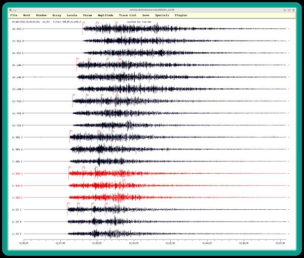 Záznamy zemetrasenia 24.8.2016 v Taliansku (najsilnejší otras s Mw=6,2) stanicami Národnej siete seizmických staníc spolu s označením časov príchodov identifikovaných seizmických vĺn). Prvé seizmické vlny spôsobené zemetrasením v Taliansku sa na Slovensko došírili cca 1 minútu po vzniku zemetrasenia.