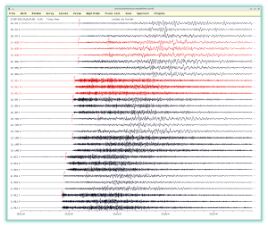 Fig. 1: Seismic records of the earthquake from September 24, 2016, from the seismic stations of NNSS. Arrivals of the P and S seismic waves are indicated on the records.
