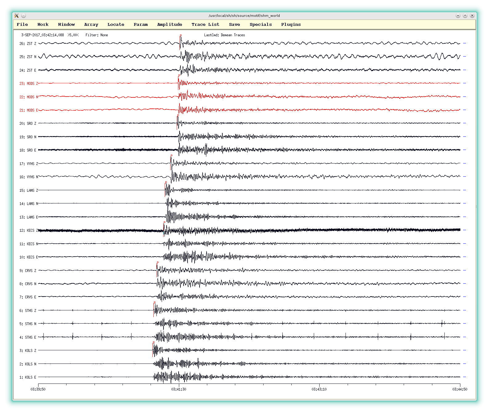 National Network of Seismic Stations recorded seismic waves
