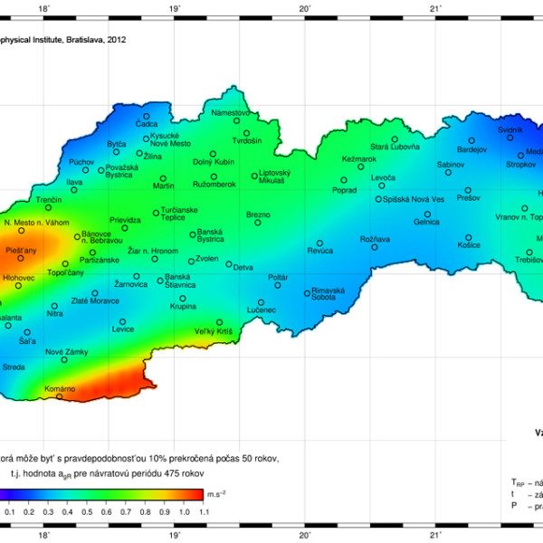 Mapa seizmického ohrozenia územia Slovenska v hodnotách špickového zrýchlenia na skalnom podloží pre 475-ročnú návratovú periódu / Map of seismic hazard for the territory of Slovakia in terms of peak ground acceleration on rock site - 475-year return period
