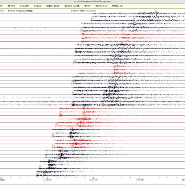 Ukážka manuálnej analýzy lokálneho zemetrasenia v software SeismicHandler so záznamami z Národnej a virtuálnej siete seizmických staníc ÚVZ SAV / An example of manual analysis of a local earthquake in the SeismicHandler software using seismic records from the National and Regional Virtual Networks of seismic stations.