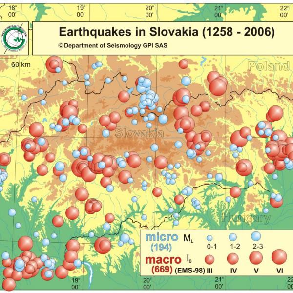Epicentrá dokumentovaných zemetrasení na Slovensku (1258 - 2006) / Earthquakes in Slovakia (1258 - 2006)